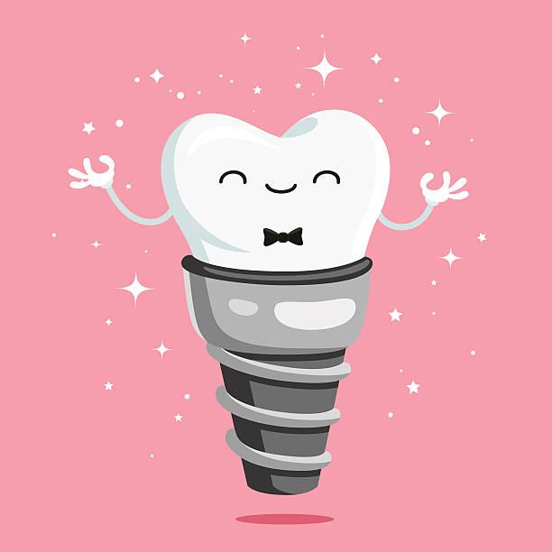 bildbanksillustrationer, clip art samt tecknat material och ikoner med happy healthy tooth implant - hand tänder ett ljus