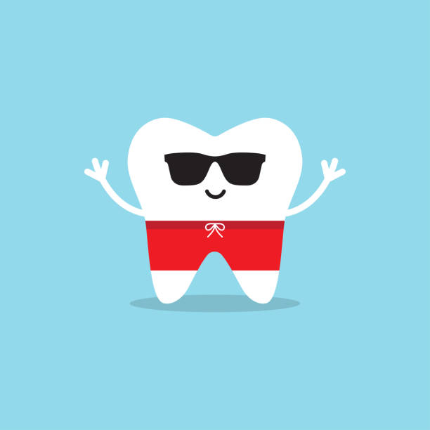 illustrazioni stock, clip art, cartoni animati e icone di tendenza di happy healthy tooth in sunglasses and swimming trunks. - denti