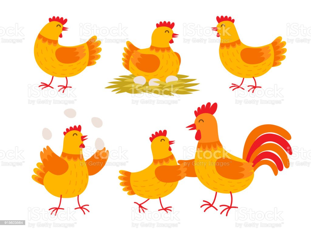 Happy Hen Cartoon Character In Different Poses Isolated On White ...