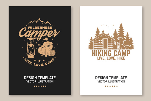 Happy hiker. Live, love, hike. Extreme adventure. Vector Concept for shirt or print, stamp. Flyer, brochure, banner, poster design with hiker, dog, forest cabin and forest silhouette on the night