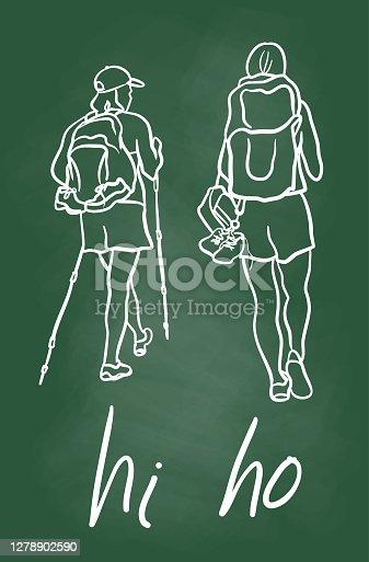istock Happy Hiking Funny Text Chalkboard 1278902590
