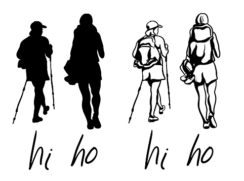 Happy Hiking Funny Text Silhouette