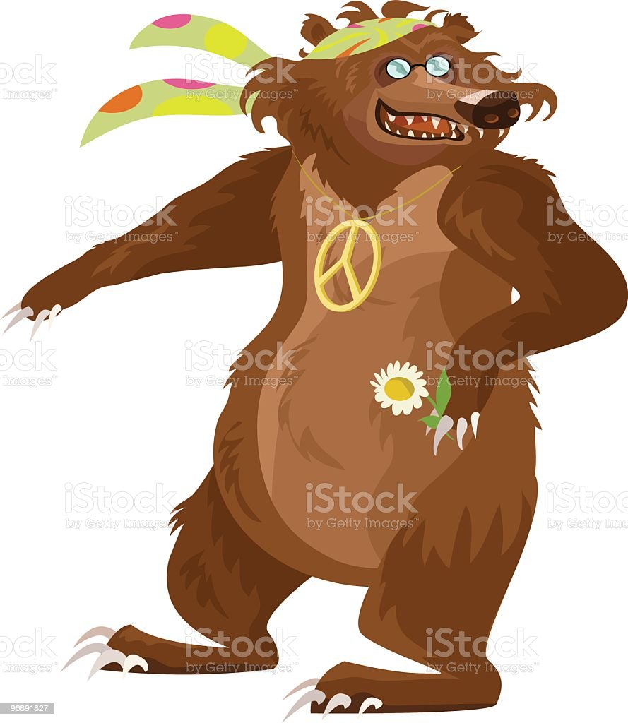 Happy Hippy Bear vector art illustration