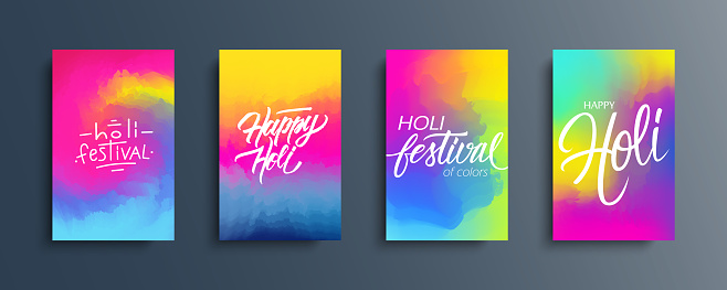 Happy Holi celebrate cards set. Abstract color gradient pattern backgrounds with hand lettering holiday greetings. Indian spring festival of colors collection.
