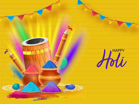 Happy Holi Celebration Concept With Glossy Water Guns, Dhol Instrument, Balloons, Plates And Mud Pots Full Of Powder Color On Yellow Strip Background,