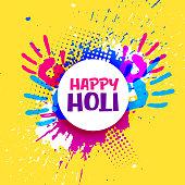 happy holi celebration poster banner vector design