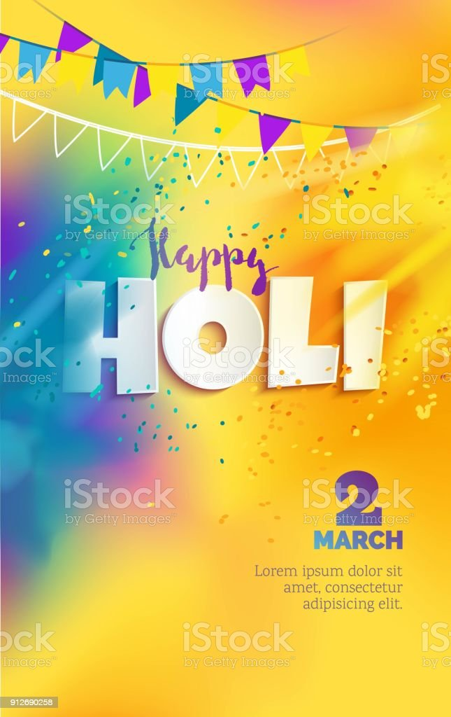 Happy Holi colorful background with realistic  powder paint clouds and 3d text.