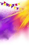 Happy Holi colorful background with realistic  powder paint clouds and decorative flags. Purple and yellow powder paint. Vector illustration