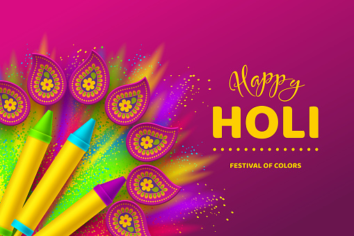Happy Holi colorful design for Festival of Colors.