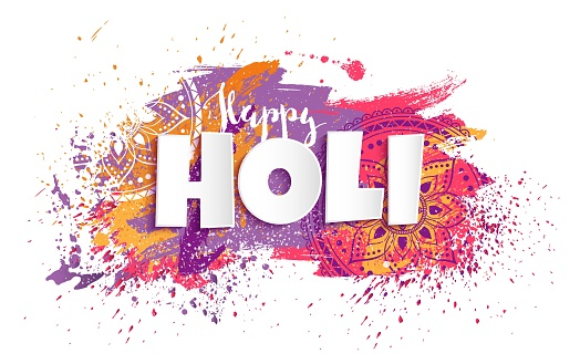 Happy Holi design with colorful paint splatters.