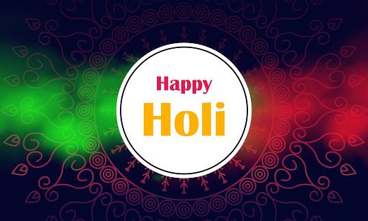 happy holi festival banner design with Royal mandala background