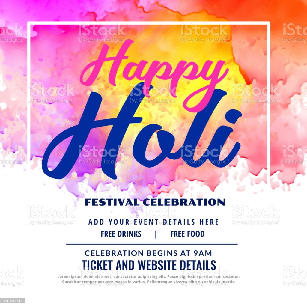 Happy holi festival celebration invitation card design stock vector happy holi festival celebration invitation card design royalty free happy holi festival celebration invitation card stopboris Images