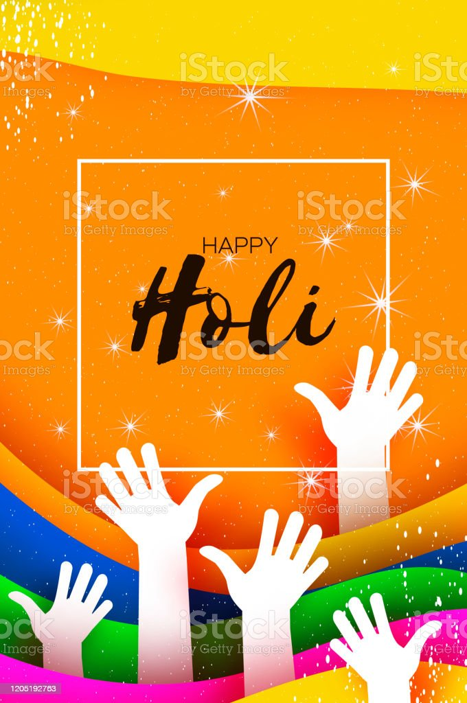 Happy Holi Festival Of Colors White People Hands Colorful Paint