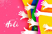 Happy Holi Festival of Colors. White People hands. Colorful paint. Space for text. Vector