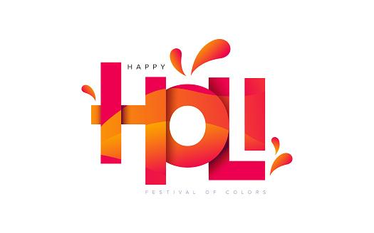 Happy Holi Greeting with Creative Holi Typography
