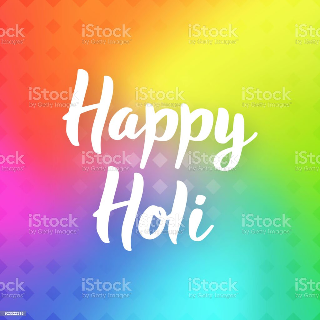 Happy Holi Hand Drawn Lettering Phrase On Colorful