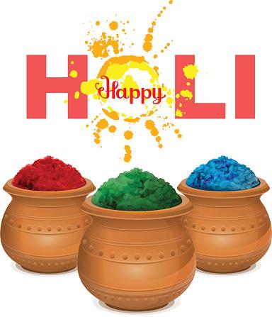 Happy holi. Holi paint pot. Ceramic pot with paint