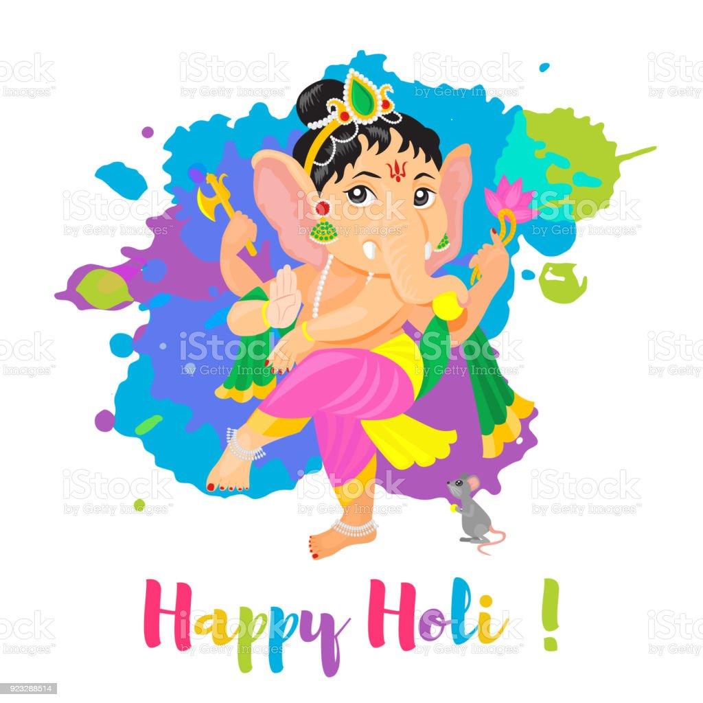 Vetores De Cartaz De Holi Holiday Feliz Com Deus Ganesha