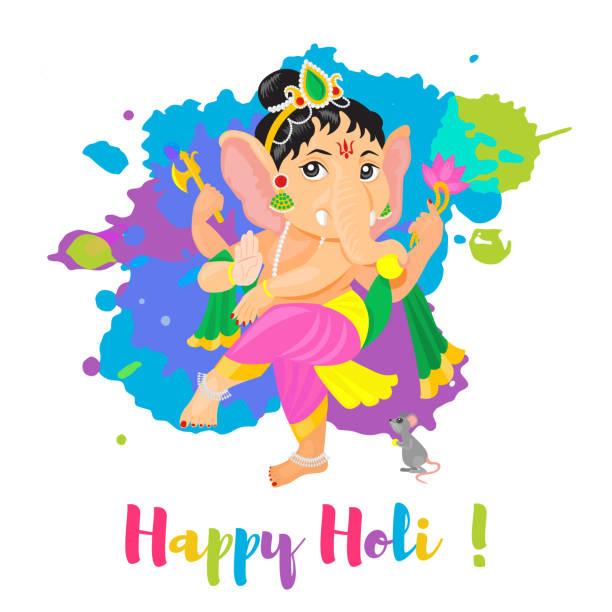 happy holi holiday poster mit lord ganesha gott. bunte flache cartoon stil illustration - ganesh stock-grafiken, -clipart, -cartoons und -symbole
