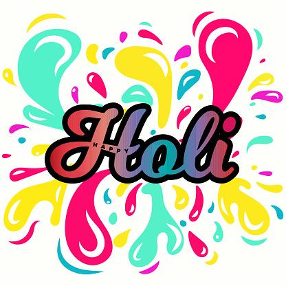 Happy Holi poster color vector