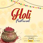 Happy holi special offer sale on the festive season. Background with mandala.