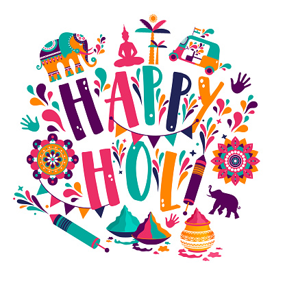 Happy holi vector elements for card design , Happy holi design with colorful icon.