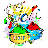 Happy Holi, a spring festival of colors, vector illustration