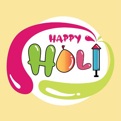 Happy Holi water Balloon and Pichkari poster illustration