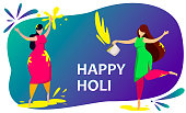 Happy Holi. Two women taking part in traditional Indian Festival of Colours. Beautiful happy young lady. Colorful wallpaper. Vector illustration on blue background with color spots