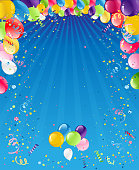 Bright Holiday card for design template banner, ticket, leaflet, poster and so on. Happy birthday background and balloons
