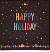 Happy holiday gift card with colorful sweet lettering design and many gift box. vector illustration eps10.