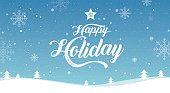 Happy Holiday, Merry Christmas, happy new year,  landscape winter, vector illustration.