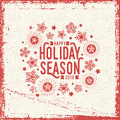 happy holiday season greetng card in one color and grunge technique.