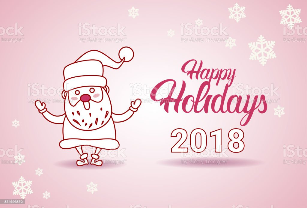 Happy holidays 2018 banner santa on christmas and new year greeting happy holidays 2018 banner santa on christmas and new year greeting card royalty free happy m4hsunfo