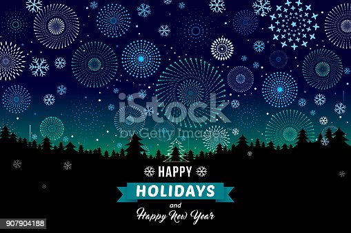 istock happy holidays and Happy New Year on winter landscape 907904188