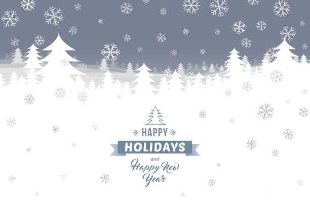 happy holidays and happy new year on winter landscape - happy holidays stock illustrations, clip art, cartoons, & icons