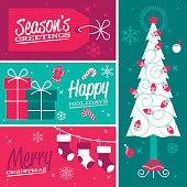 Season's greetings, happy holidays and merry christmas design elements and banners. Includes christmas tree with christmas lights, gifts, gift tag and stockings as well as holiday candy and decorations.