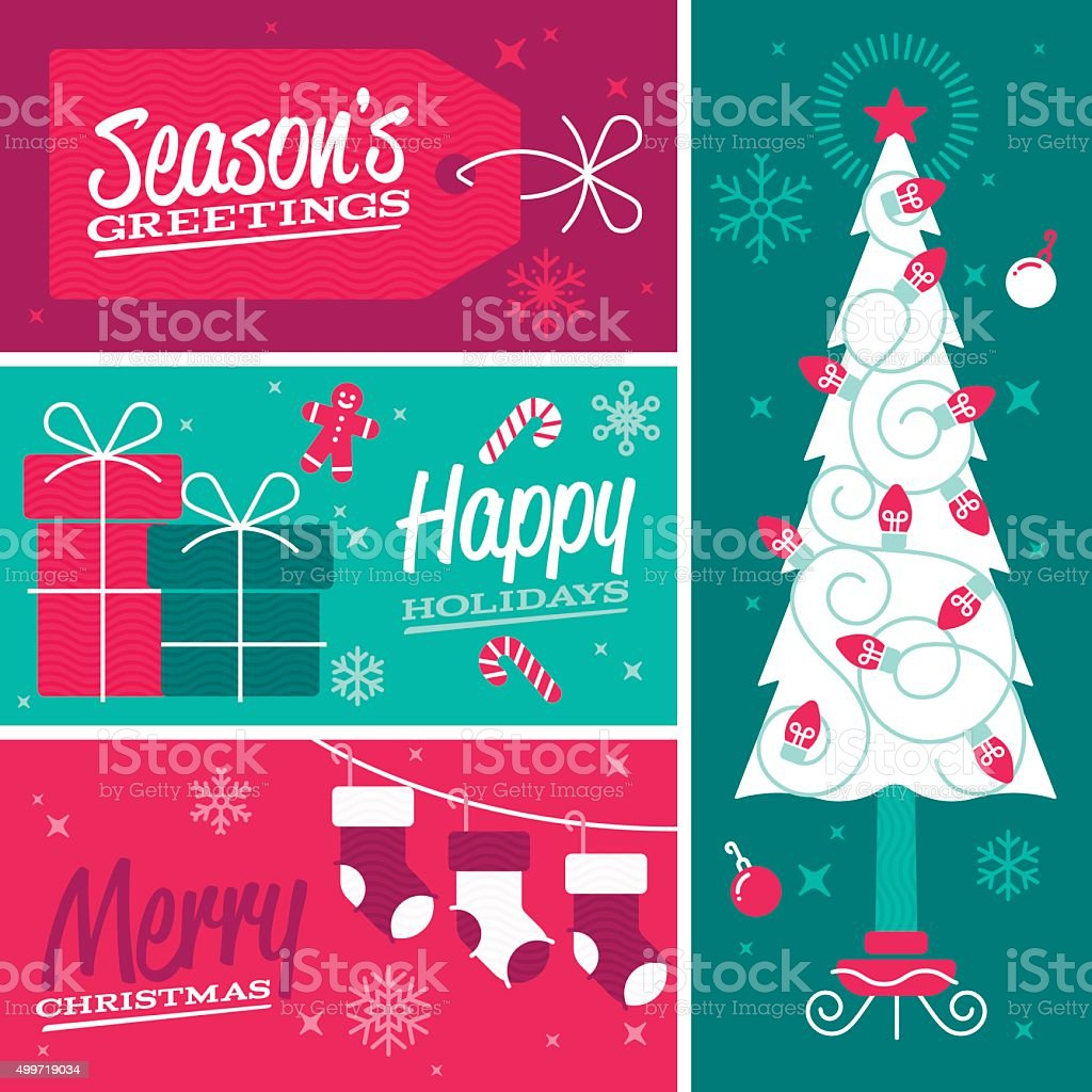 Happy Holidays and Merry Christmas Seasonal Design Banners vector art illustration