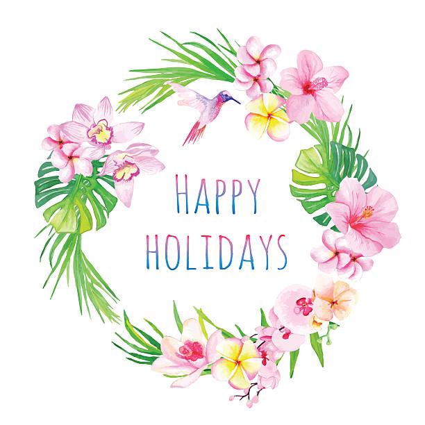 happy holidays and tropical flowers vector design frame - hawaiian lei stock illustrations, clip art, cartoons, & icons