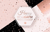 Happy Holidays background with scattered geometric confetti. Hexagon frame in center with place for text on trendy patchwork backdrop. Winter template design for posters, flyers, brochures, vouchers