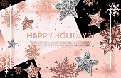 Happy Holidays background with scattered snowflakes, rose gold and silver stars. Square frame with place for text on trendy geometric backdrop. Vector template design for posters, brochures, vouchers