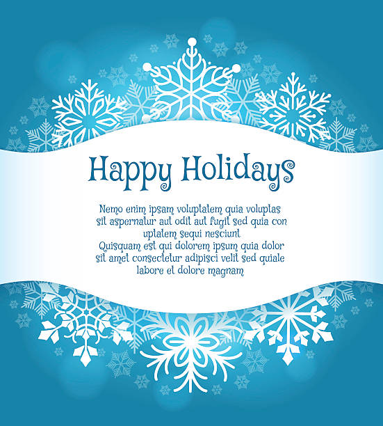 Happy holidays blue background with snowflakes Happy holidays blue background with text. Vector snowflakes vacation poster december illustrations stock illustrations