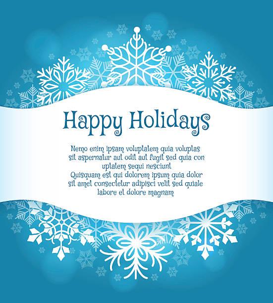 ilustrações, clipart, desenhos animados e ícones de happy holidays blue background with snowflakes - moda de inverno