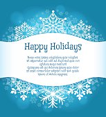Happy holidays blue background with snowflakes