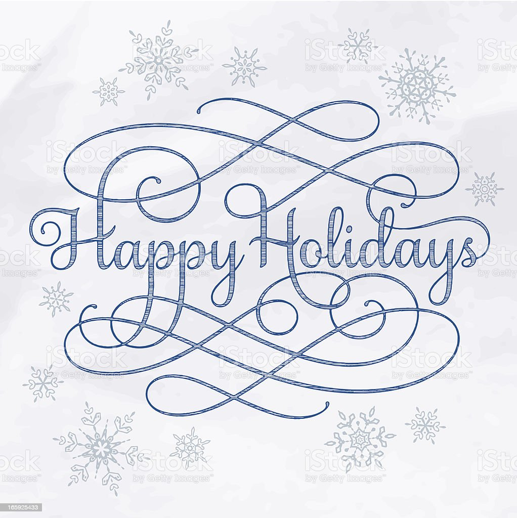 Happy Holidays Calligraphy Drawing royalty-free happy holidays calligraphy drawing stock vector art & more images of blue