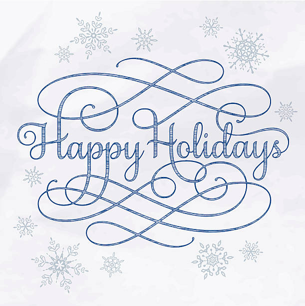 Happy Holidays Calligraphy Drawing vector art illustration