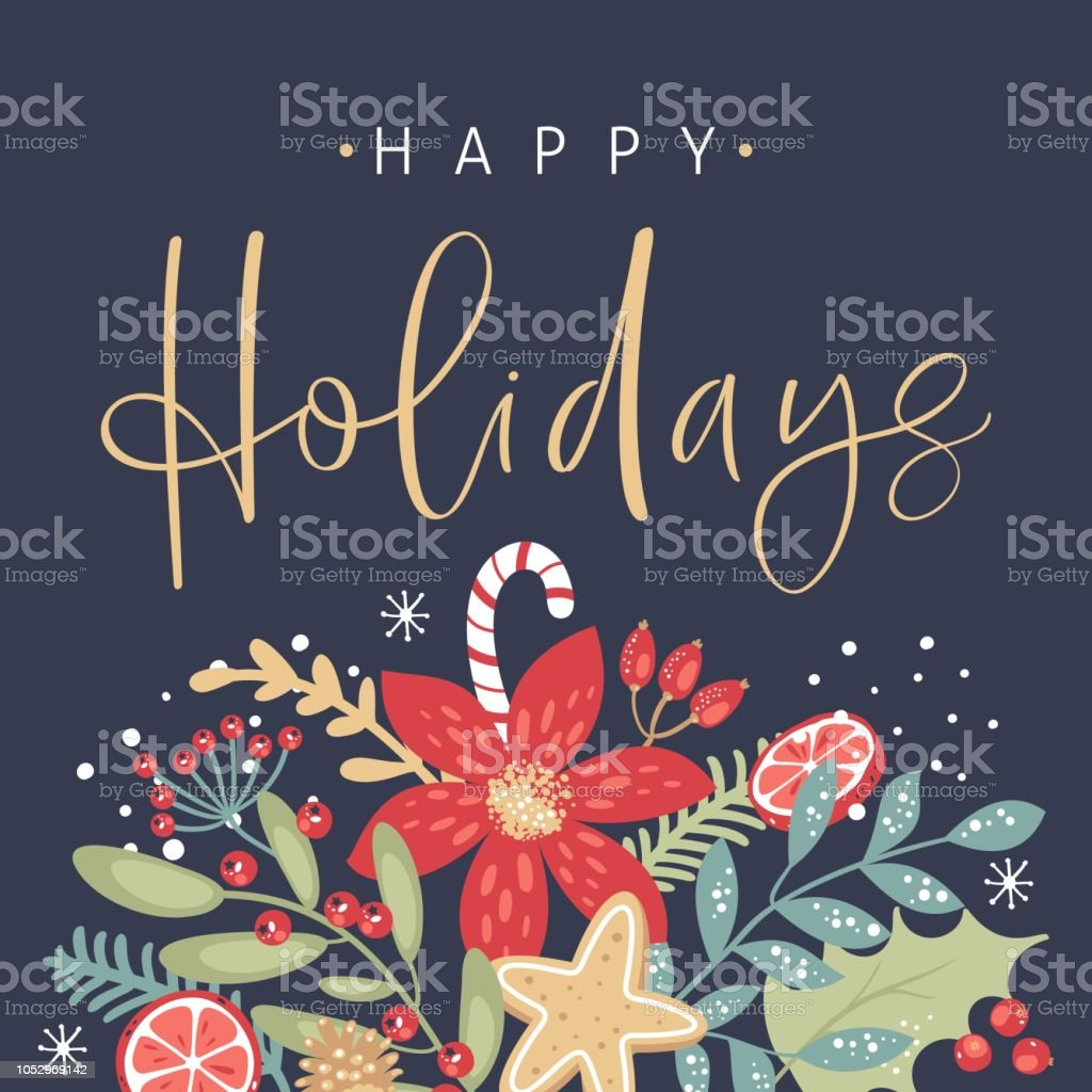 Happy holidays calligraphy. Handwritten modern brush lettering. Hand drawn design elements. Trendy vintage style. royalty-free happy holidays calligraphy handwritten modern brush lettering hand drawn design elements trendy vintage style stock illustration - download image now