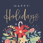 Happy holidays calligraphy. Handwritten modern brush lettering. Hand drawn design elements. Trendy vintage style.