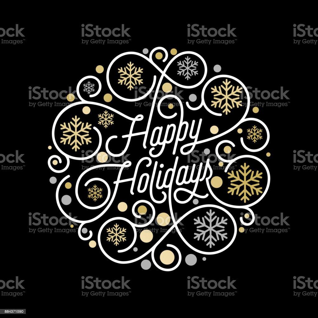 Счастливые праздники каллиграфии надписи и золотой рисунок снежинки на белом фоне для Xmas поздравительные открытки дизайн. Векторное золот - Векторная графика Ёлочные игрушки роялти-фри