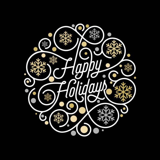 節日賀卡設計的白色背景上的書法刻字和金色雪花圖案。向量金色聖誕花花花新年假期文字裝飾 - happy holidays 幅插畫檔、美工圖案、卡通及圖標